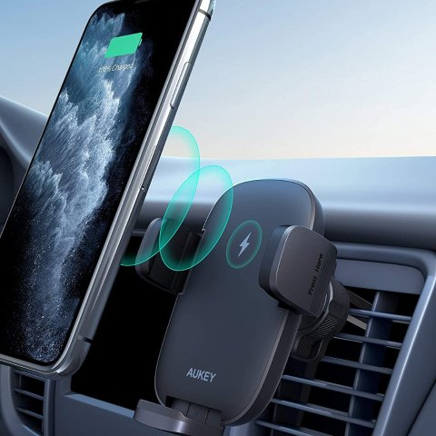 AUKEY Wireless Car Charger 10W Qi Fast Charging Air Vent Car Phone Mount Compatible