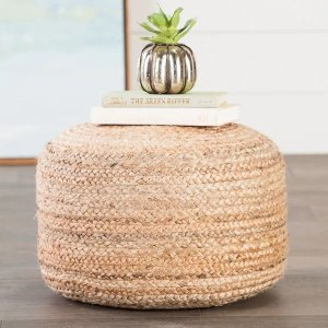 The Curated NomadCamarillo Modern Tan Cylindrical Shape Jute Pouf