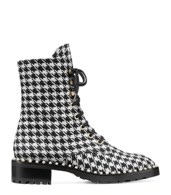 THE ALLIE 千鸟格珍珠马丁靴