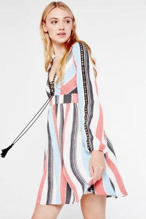 AMT Eyelet Detail Lace Up Dress