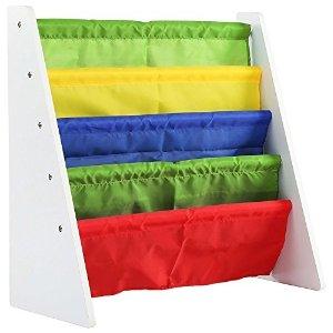 Tot TutorsKids Book Rack Storage Bookshelf, White/Primary (Summit Collection)