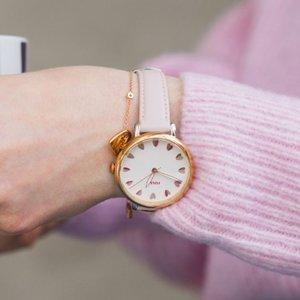 Extra 20% OffFossil Jacqueline Three-Hand Pastel Pink Leather Watch and Jewelry Box Set ES4351SET