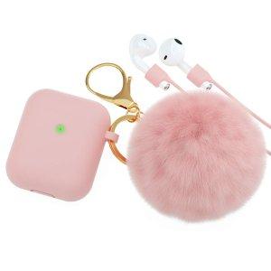 Amazon AirPods粉紅萌保护套 配Pom Pom毛球钥匙扣/表带/耳塞配件