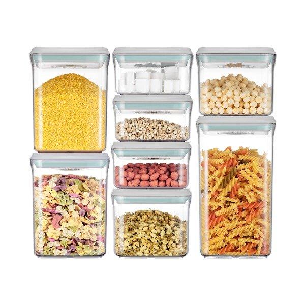 按压式密封罐储物罐8件套 密封保鲜 四种尺寸