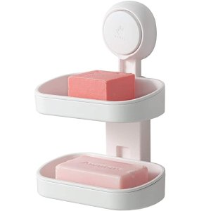 TAILI Double Layer Soap Dish Suction Cup Soap Holder