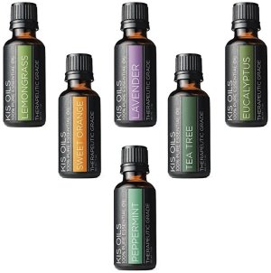 KisOil'S Aromatherapy Top 6 100% Pure Therapeutic Grade Basic Sampler Essential Oil Gift Basic sampler essential oil gift set 6-30ML (tea tree, sweet orange, lemongrass, eucalyptus, lavender, peppermint)