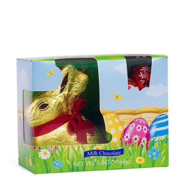 复活节金兔子和彩蛋牛奶巧克力,5.8 oz