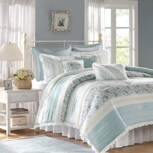 Madison ParkDawn 9 Piece Cotton Percale Comforter Set By Madison Park - Designer Living