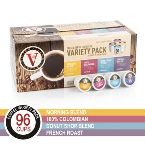 闪购价$15.94 一颗只需$0.17Victor Allen's K-Cup咖啡胶囊4口味混合装 96颗