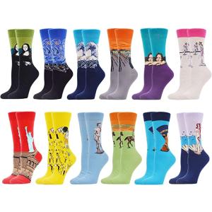12双仅€21.99WeciBor 创意袜子 平铺可爱图案、世界名画系列 任你挑选