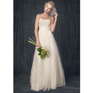 52c8d818e1a Davids BridalStrapless A Line Beaded Lace Tulle Gown