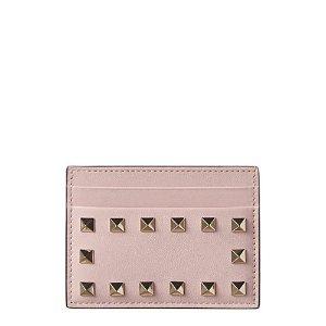 Valentino粉色铆钉卡包