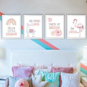 粉色女孩儿主题墙面装饰海报4张,不含相框