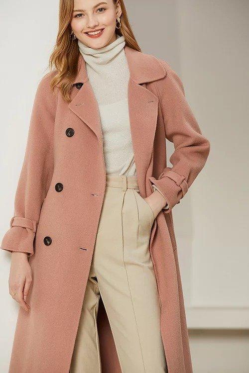 虾粉色经典双排扣双面羊毛大衣