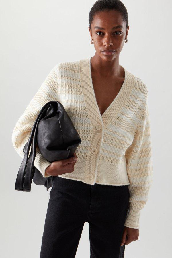 混羊毛开衫