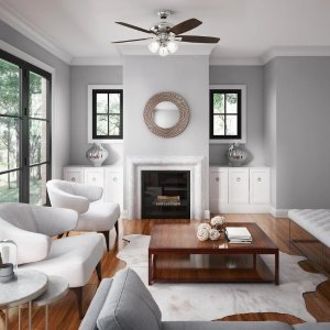 $59.5Hunter Winslow 52-in Brushed Nickel Indoor Ceiling Fan with Light Kit