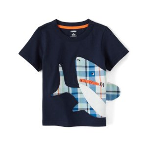 GymboreeBoys Short Sleeve Plaid Zipper Shark Patch Top - Whale Hello There