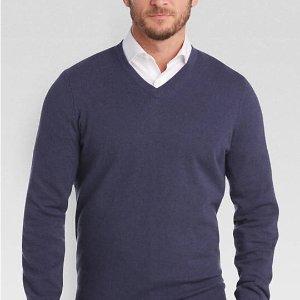 $34.99 (Org.$249.99)Joseph Abboud Crown Blue V-Neck Cashmere Sweater @Men's Wearhouse