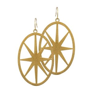 open north star earrings, 14K gold dipped
