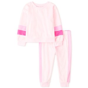The Children's PlaceBaby And Toddler Girls Mommy And Me Long Sleeve Striped Matching Velour Pajamas