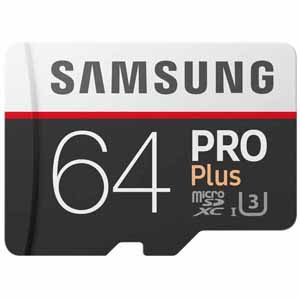 Samsung 64GB PRO Plus MicroSDXC Memory Card with Adapter