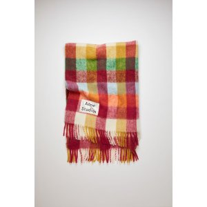 Acne StudiosMulti check blanket Fuchsia/orange