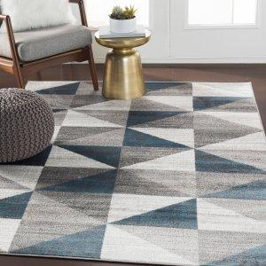 $48.79闪购:Metz 几何图案地毯 5'3
