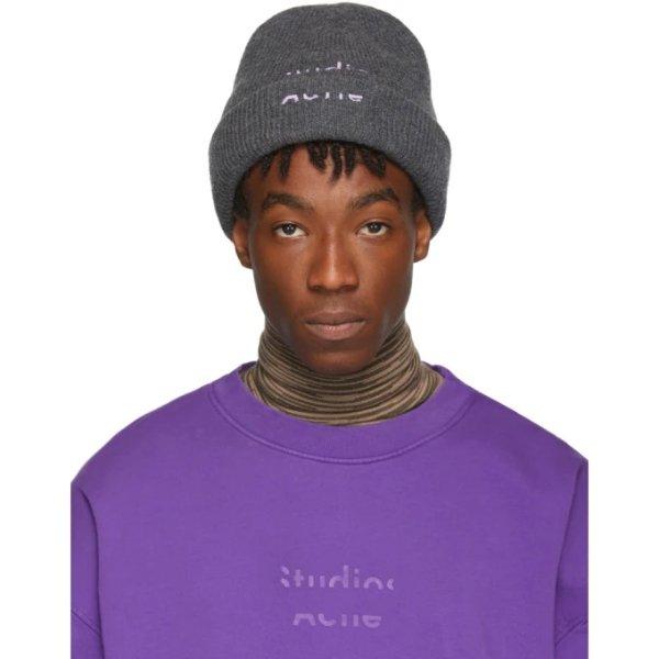 Grey & Purple Reed Beanie帽子
