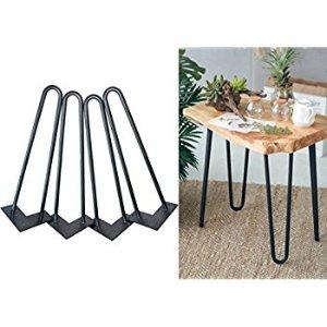 "16"" Hairpin Legs 3/8"" Thick Satin Black Two-Rod Mid Century Modern Set of 4 Heavy Duty Metal Table Legs - - Amazon.com"