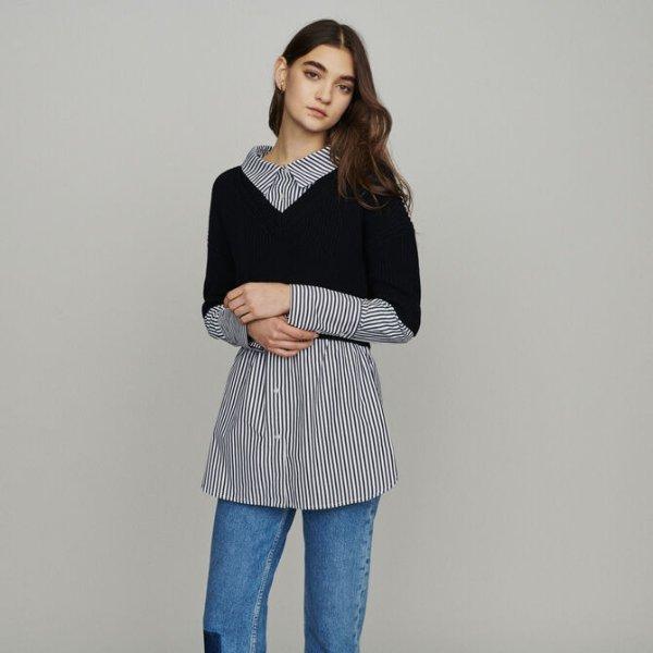 假两件毛衣衬衫
