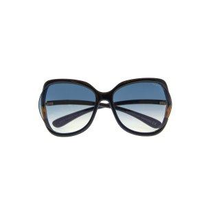 Tom FordShiny Black & Blue Oversized Sunglasses FT0578-6001W