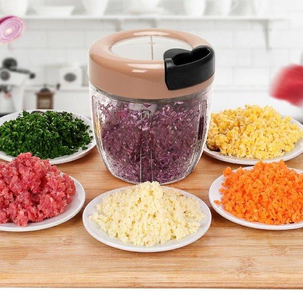 家用手拉式料理机绞肉机 多功能 900ML 藕粉灰