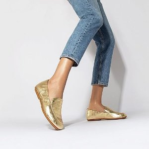 FitFlopCroc-Embossed Metallic Leather Loafers
