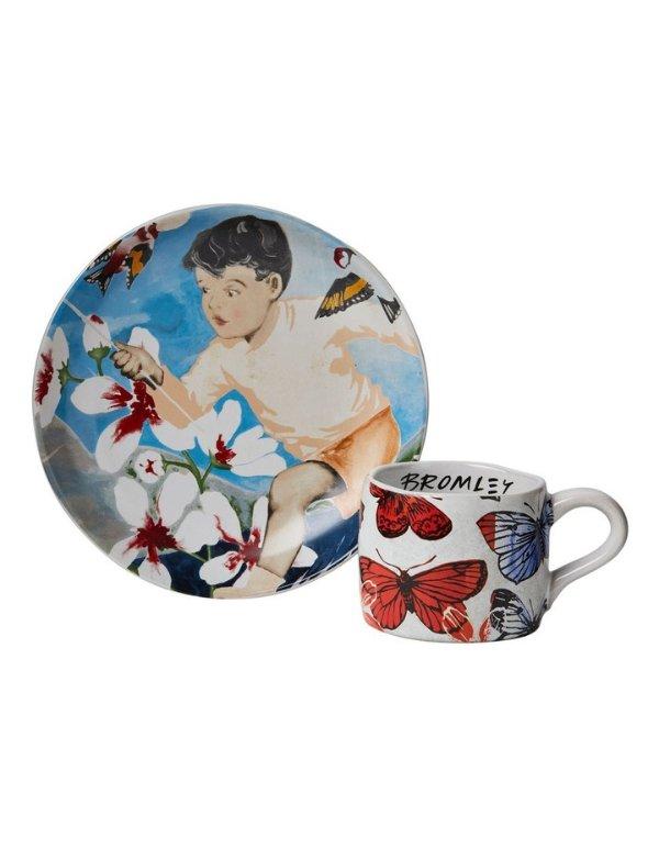 捕蝶者 彩绘餐盘+马克杯套装