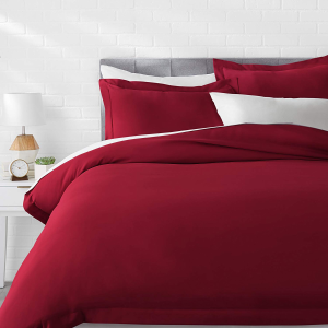 $19.53收床品3件套AmazonBasics 超细纤维羽绒被套 玫瑰红最称娇艳的你