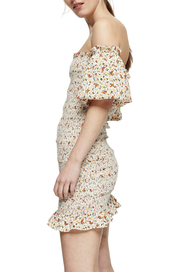 Ditsy Floral 露肩连衣裙
