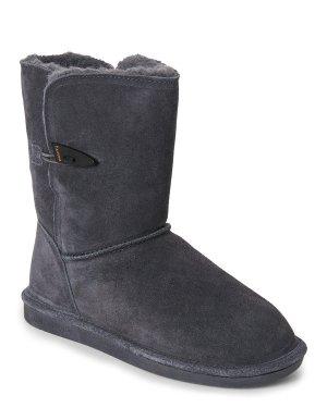 $33Bearpaw Charcoal Victorian Short Boots