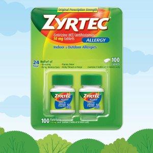 Zyrtec Antihistamine Cetirizine HCI 10 mg., 100 Tablets