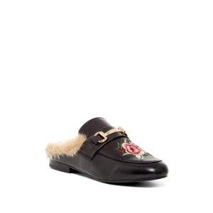 ad4082379ad Steve MaddenJill Embroidered Faux Fur Trim Leather Mule