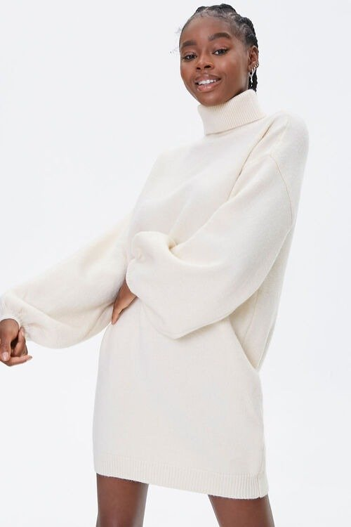高领毛衣裙