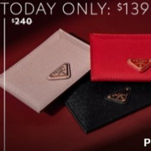 Prada Logo Saffiano Leather Card Case Sale
