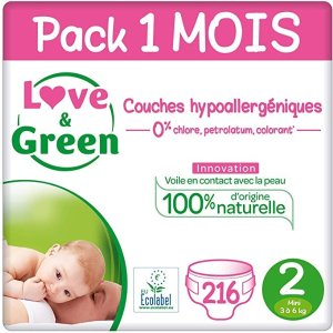 Love & Green 2 号(3-6 kg) - Pack 1 mois (216 Couches)