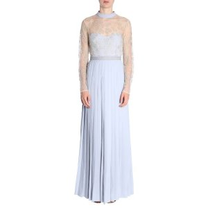 Self-PortraitFLORAL EMBROIDERED MESH PLEATED LONG DRESS