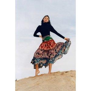 AnthropologieAnarosa Tiered Maxi Skirt