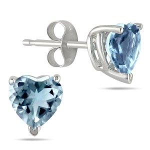 SzulAll-Natural Genuine 5mm Heart Shape Aquamarine Earrings in .925 Sterling Silver
