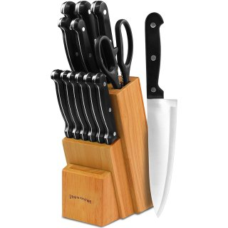 $19.99Utopia Kitchen Knife Set with Wooden Block - 13 Pieces - Chef Knife, Bread Knife, Carving Knife, Utility Knife, Paring Knife, Steak Knife, and Scissors - 13 Piece knives with Wooden Block @ Amazon