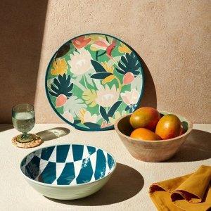 低至5折 $4收印花碗Indigo 夏日印花餐具 ins风实木碗盘菜板 复古搪瓷木碗$22