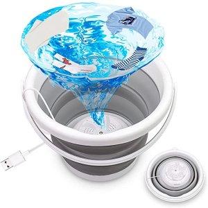 可折叠硅胶桶 2.6加仑容量迷你usb洗衣机