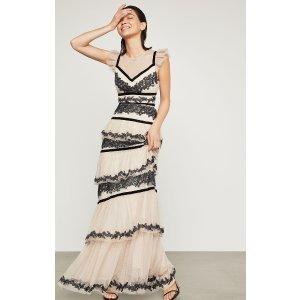 BCBGMAXAZRIAEmbroidered Tiered Ruffle Gown