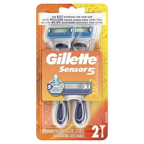 $2.57 1支仅$1.37白菜价:Gillette Sensor5 男士剃须刀 2个 喜欢手动剃须就选它